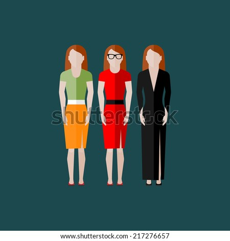 women appearance icons. people flat icons collection  - stock vector