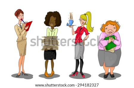 Women as the office workers. Hand drawn illustrative characters. - stock vector