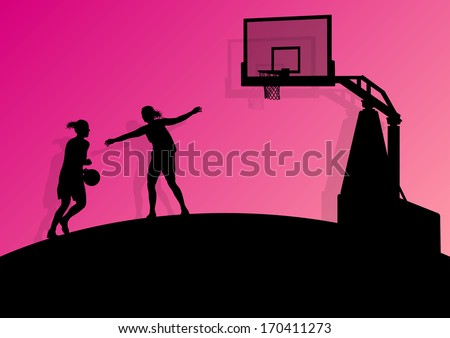 Women basketball player active sport girls vector background abstract illustration - stock vector