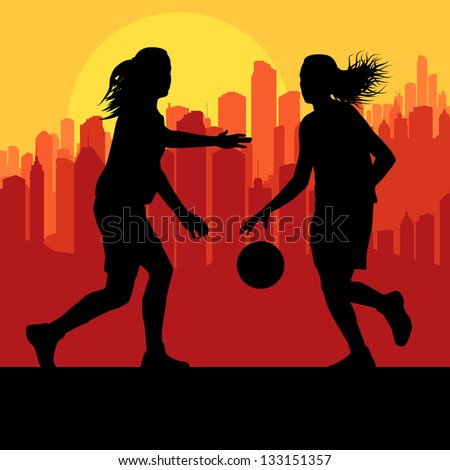 Women basketball players vector background in front of city - stock vector