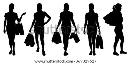 women buying silhouettes on the white background - stock vector