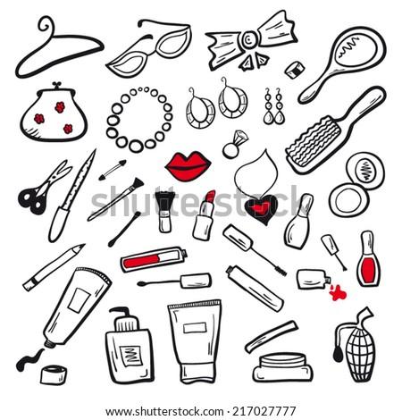 Women cosmetics set - stock vector