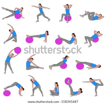 women doing pilates  illustration - stock vector