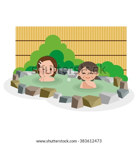 Women entering the hot spring - stock vector