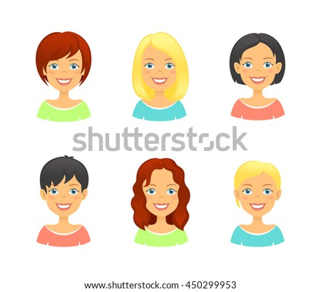 Women faces. Woman hair styles of different types and colors. Girl face avatar set - stock vector