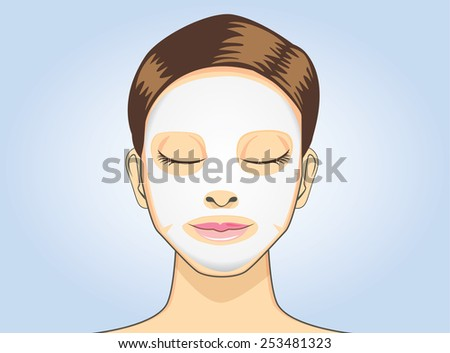 Women facial sheet mask in cartoon version on blue background - stock vector