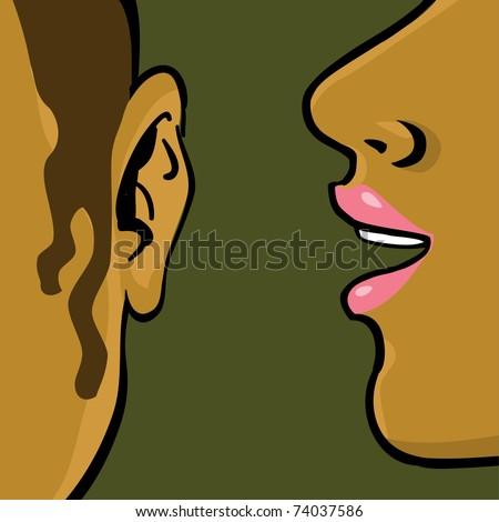women gossip, drawing illustration - stock vector
