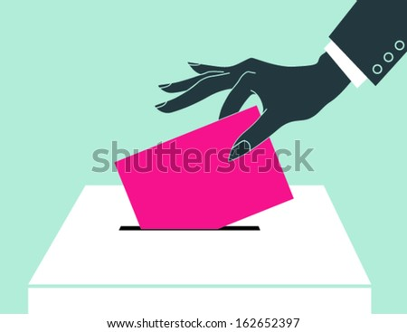 Women hand down the ballot in the ballot box. - stock vector