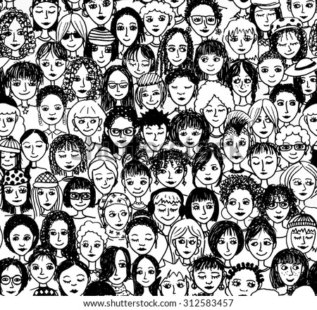 Women - hand drawn seamless pattern of a crowd of different women from diverse ethnic backgrounds - stock vector