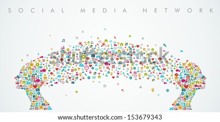 Women heads silhouette made with social media network icons splash. EPS10 vector file organized in layers for easy editing. - stock vector