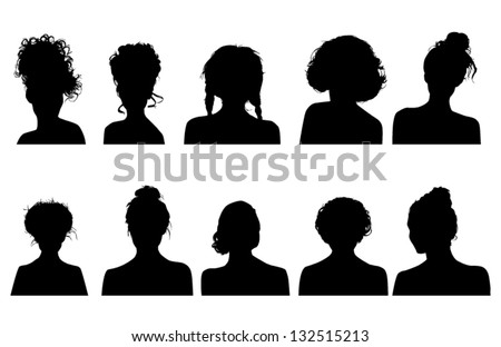 Women heads silhouettes - stock vector