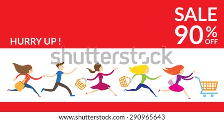 Women Hurry Run to Sale, Promotion and Discount Commercial Concept - stock vector