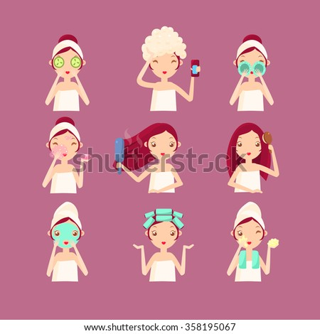 Women in Beauty Saloon. Flat Vector Illustration Set - stock vector