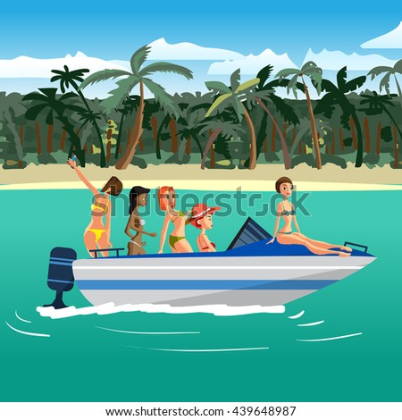Women in bikini riding on a motorboat around a tropical beach. Flat cartoon vector illustration - stock vector