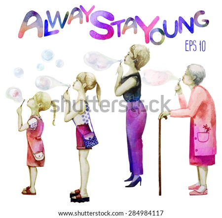 Women in four age groups blowing soap bubbles.  Two sisters, mother and grandmother standing in profile. Watercolor vector illustration isolated on white background - stock vector