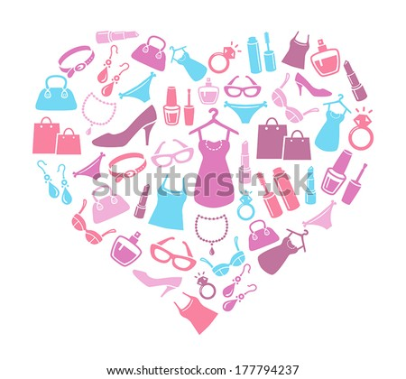 Women Love Shopping - Cute Background With Icons of Women's Shopping Items And Accessories - stock vector