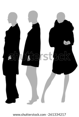 Women mannequins in fashionable clothes on a white background - stock vector