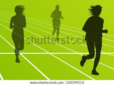 Women marathon runners silhouettes in sport stadium landscape background illustration vector - stock vector