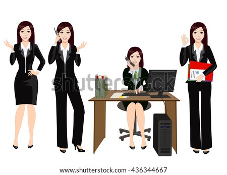 Women - office employee working at the computer and answering to customers on the phone.  Girl in office clothes. Woman busy work with documents. - stock vector