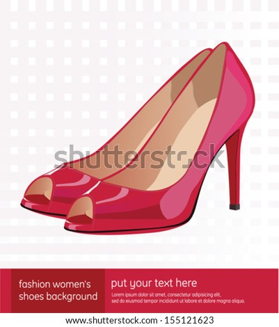 Women red shoes fashion background - stock vector