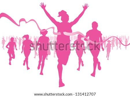 Women Running - stock vector