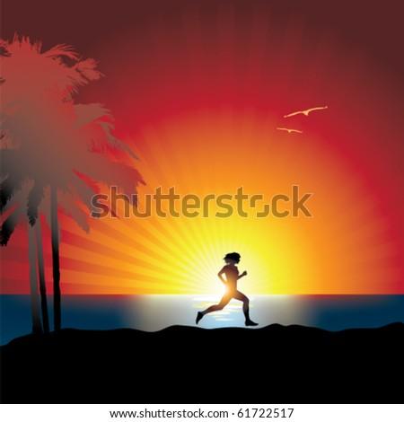Women running sunset - stock vector