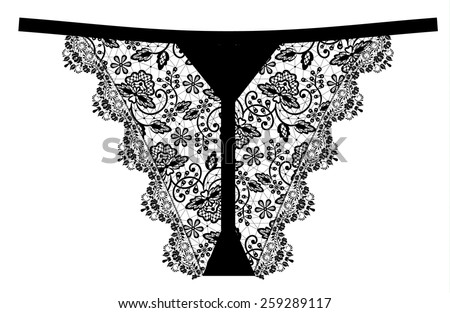 Women's black lace panties isolated on white - stock vector