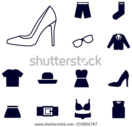 Women's clothing icons - stock vector