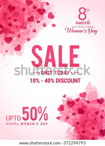 Women's Day celebration Poster, Banner or Flyer design of Sale with different discount offer. - stock vector