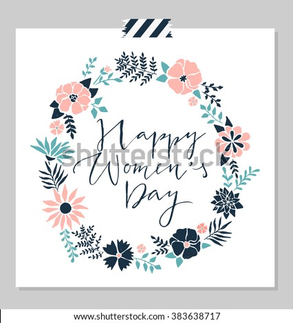 """Women's day design card template, red glitter texture, abstract flowers wreath, hand drawn lettering """" Happy woman's day"""" vector illustration eps10 graphic - stock vector"""