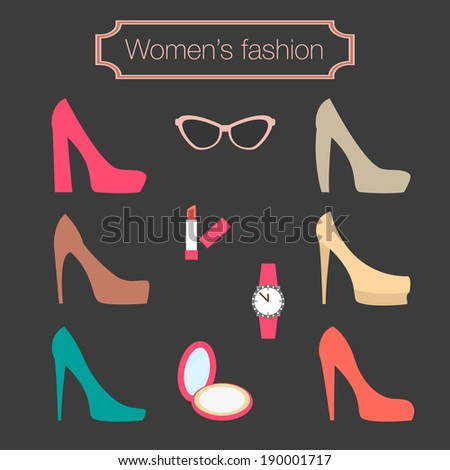 Women's fashion collection of high-heeled shoes - vector illustration - stock vector