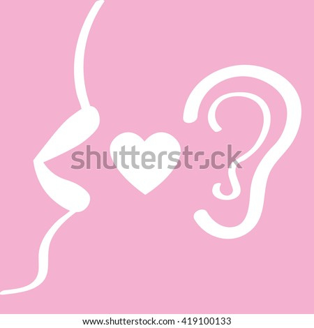 women's lips say, in your ear, the concept of gossip, seduction, secret information, vector illustration - stock vector