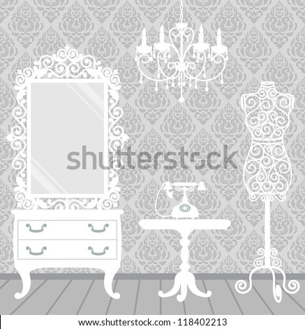 Women's room in vintage, boudoir style with mannequin, chandelier, mirror, table and telephone - stock vector