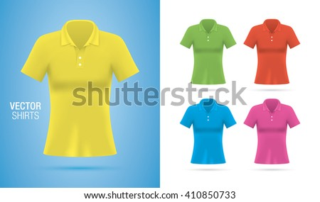 Women's vector polo shirt templates. Girls Colorful vector shirts isolated on background. Realistic mockup. - stock vector