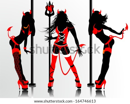 Women's vector silhouettes in devil's erotic suits - stock vector