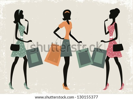 Women shopping on a retro grunge background - stock vector