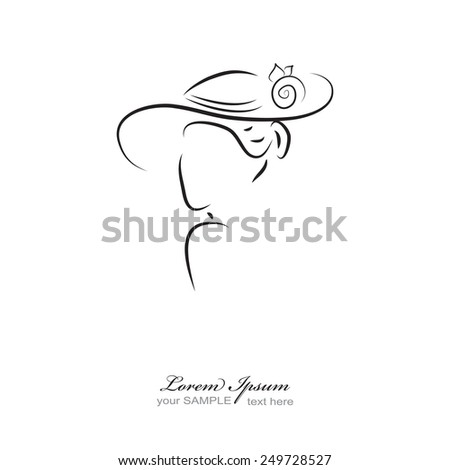 women silhouette with hat - stock vector