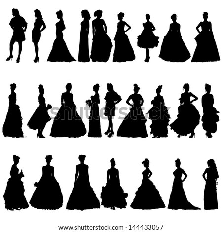Women silhouettes in various dresses. Vector illustration - stock vector