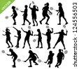 Women silhouettes play Badminton vector - stock vector