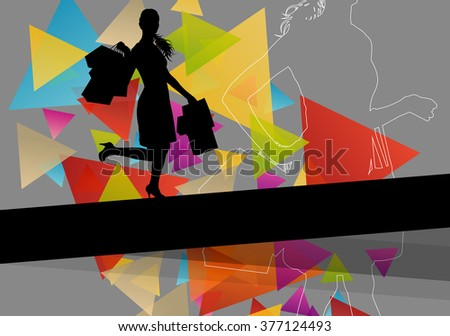 Women silhouettes with  shopping bags in active abstract background seasonal illustration vector - stock vector