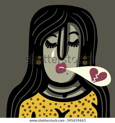 Women suffer for love - stock vector