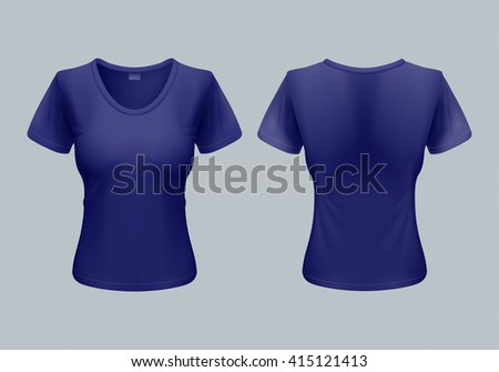 Women T-Shirt Template Back and Front Views in Dark Blue - stock vector