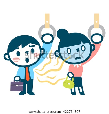 Women troubled smell of body odor by train commute - stock vector