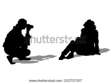 Women with a camera on white background - stock vector