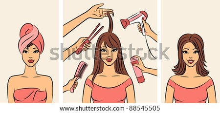 Women with coiffure in a beauty salon. Vector - stock vector