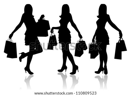Women with shopping bags - stock vector