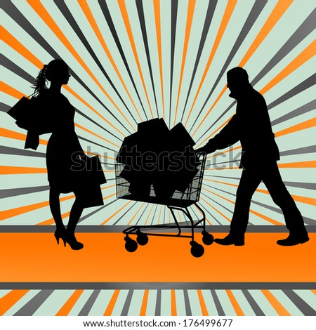 Women with shopping bags and man with shopping cart vector background abstract sale concept - stock vector