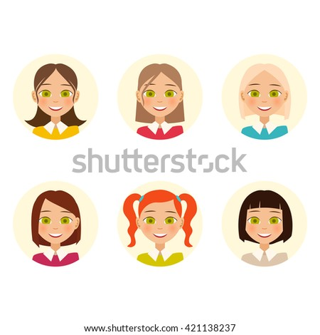 Womens faces. Woman with different hair color and different hairstyles. Vector illustration - stock vector