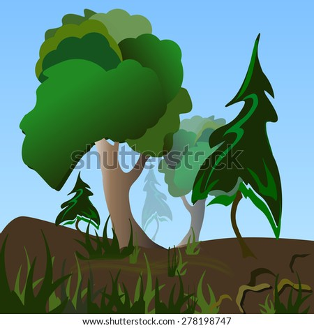 Wonderful hills with pines and oaks. The grass in the decorative merged. Vector illustration - stock vector