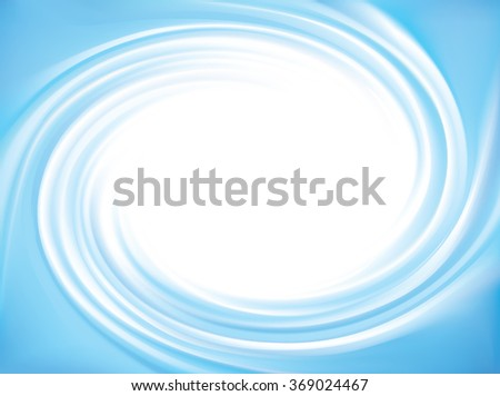 Wonderful modern decorative rippled curvy cyan fond. Eddy volute surface gentle turquoise color with space for text in glowing soft shiny milk center in middle of funnel - stock vector